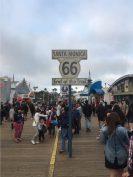 Route 66 sign Santa Monica Beach pier