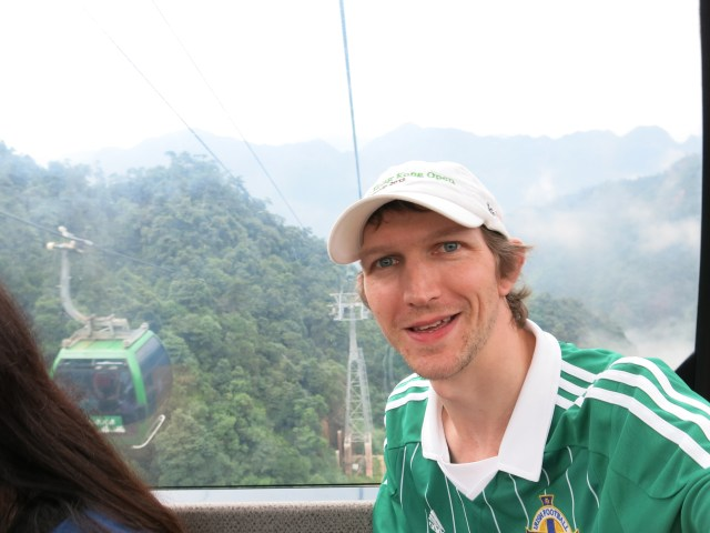 Getting the cable car to the top.