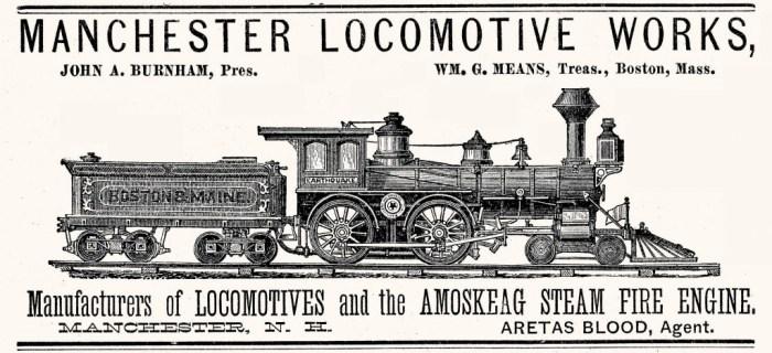 Manchester Locomotive Works, Manchester, NH 1882 Advertisement