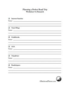 Road Trip Research Worksheet 2 - The Ultimate Road Trip Planner: Part 2 Research