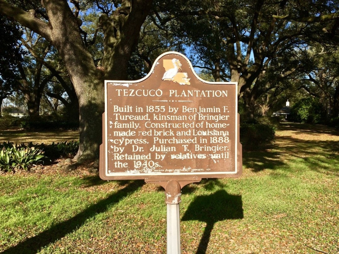 Tezcuco Marker - Louisiana's River Road Plantations