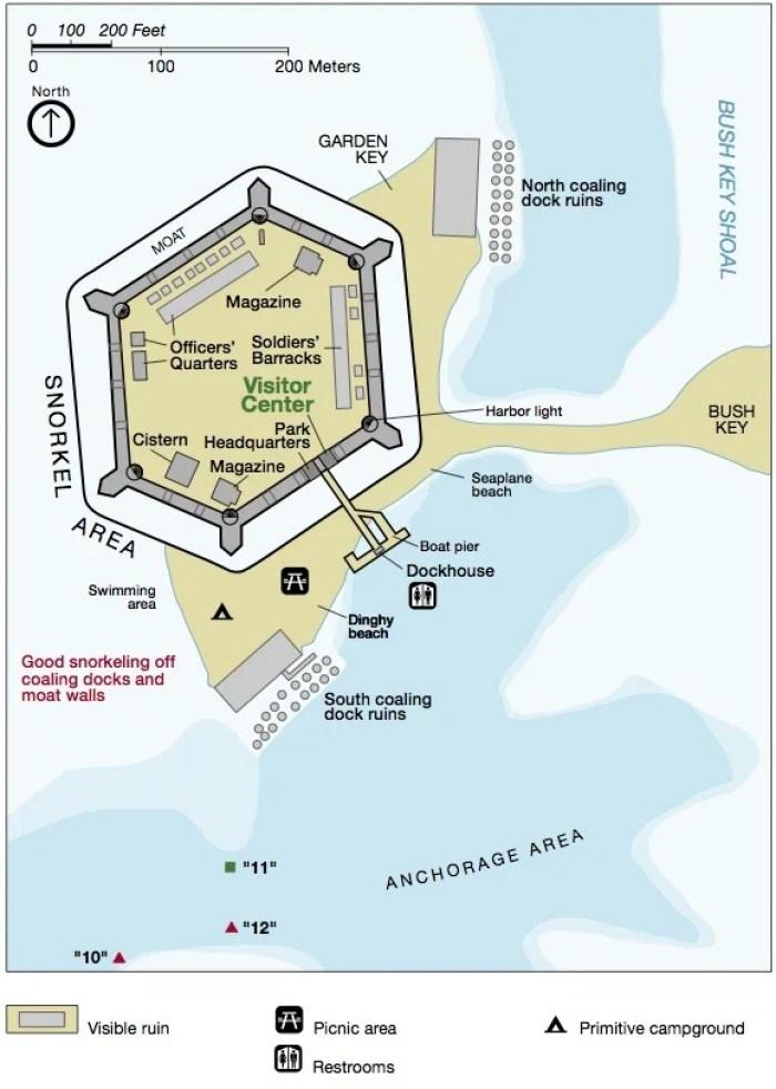 Garden Key Fort Jefferson Map