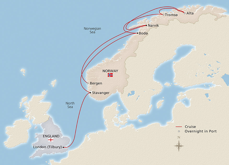 """2019 In Search of Northern Lights 956x690 tcm13 95465 - Viking Cruises to Norway & the UK: An """"Into the Midnight Sun"""" Travelogue"""