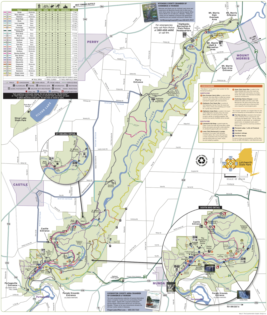 Letchworth State Park Map - Things to Do in Letchworth State Park