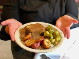 roast beef, potatoes, and brussel sprouts