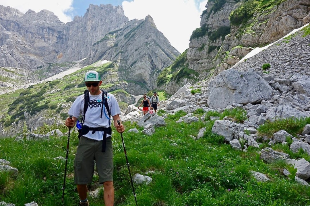 Hikers descending from mountain pass - Roadtripping, Hiking & Camping Montenegro Best Places