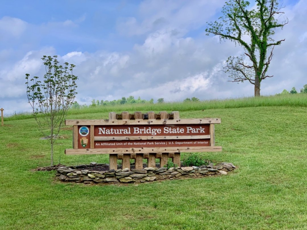Natural Bridge State Park Sign - Scenic & Historic Things to Do in Lexington, Virginia