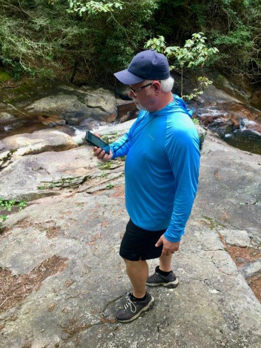 Howard Blount hiking Mill Creek Falls