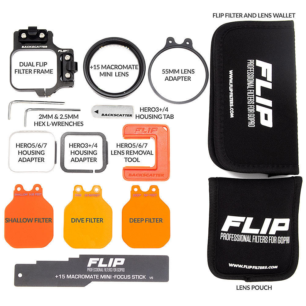 hight resolution of flip7 pro package with shallow dive deep filters 15 macromate mini lens for gopro 3 3 4 5 6 7