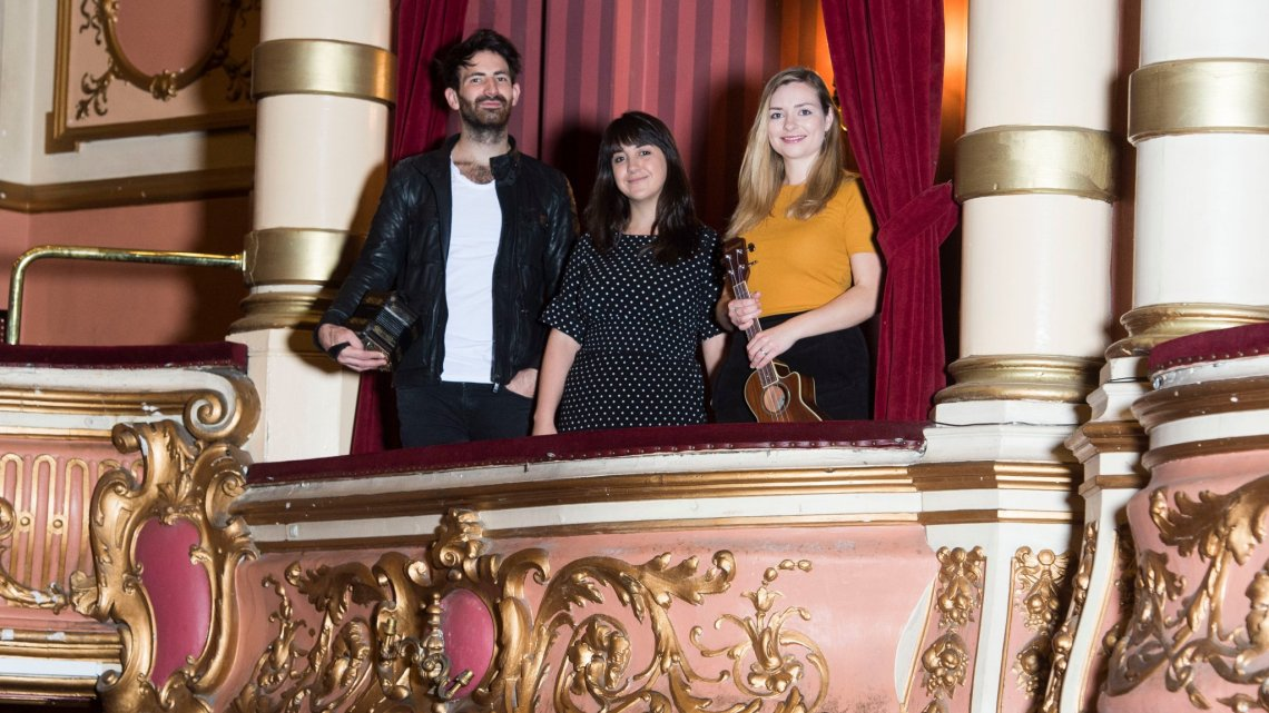 Promo image of artists in the King's Theatre Glasgow for Celtic Connections 2019