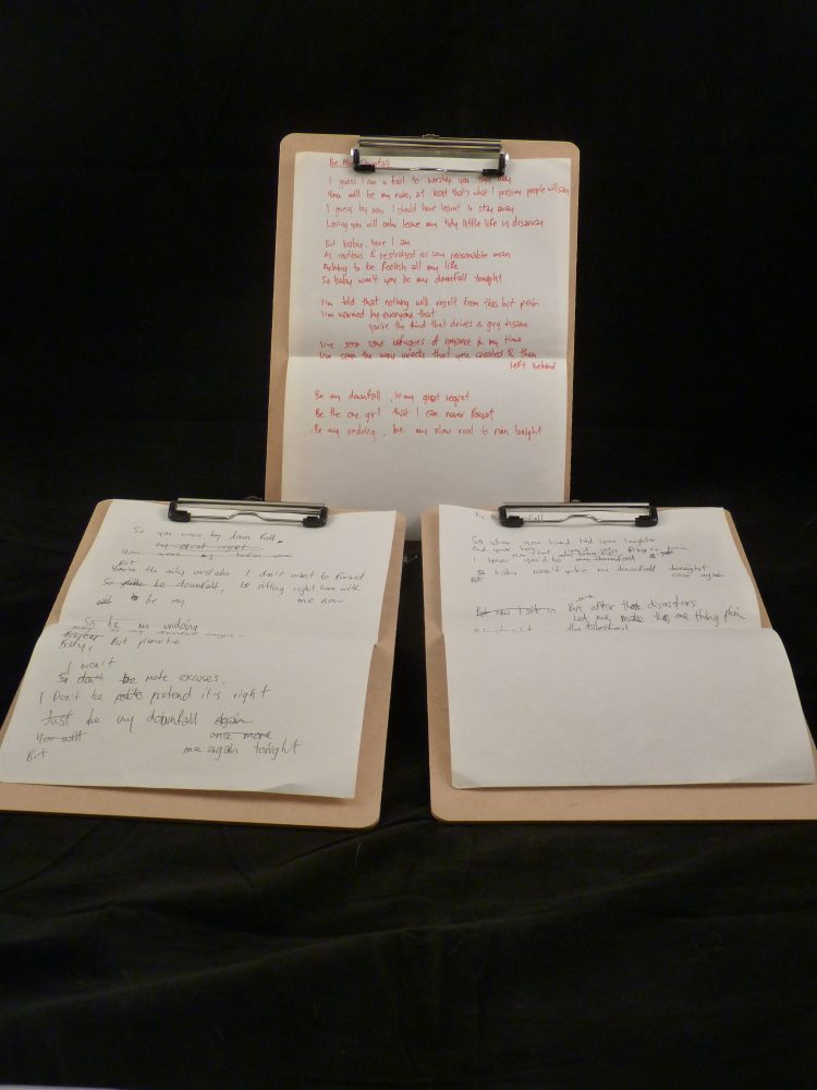 Photo of Justin Currie's handwritten lyrics for Del Amitri auction