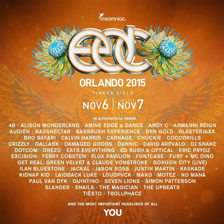 Insomniac Reveals Incredible Artists Performing at 5th Annual Electric Daisy Carnival, Orlando on Saturday, November 6 and Sunday, November 7, 2015 at Tinker Field (PRNewsFoto/Insomniac)