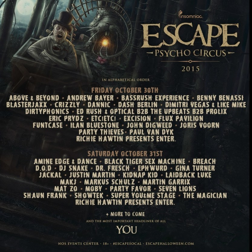 INSOMNIAC UNVEILS EXCITING FIRST ROUND OF ARTISTS FOR 5TH ANNUAL ESCAPE: PSYCHO CIRCUS (PRNewsFoto/Insomniac)
