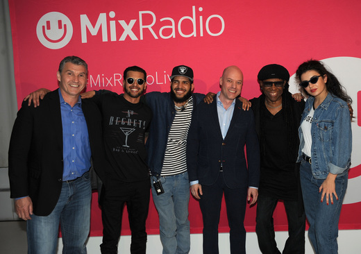 NEW YORK, NY - MAY 19: (L-R) Mike Bebel, Chris Martinez, Steve Martinez, Jyrki Rosenberg, Nile Rodgers and Charli XCX attend the MixRadio iOS and Android launch event at 404 on May 19, 2015 in New York City. (Photo by Brad Barket/Getty Images for MixRadio)