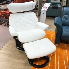 Reclining Chair With Ottoman Leather Coffee Shop Chairs Stressless Skyline Signature Base Batick Snow White Recliner By Ekornes