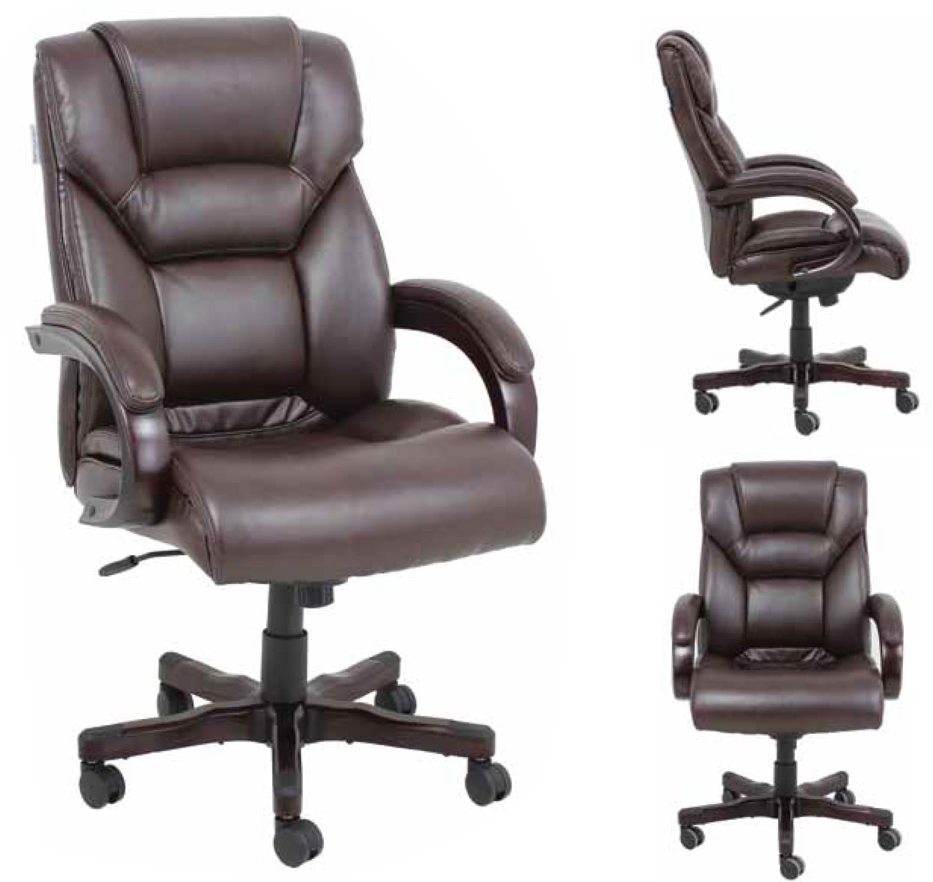 desk recliner chair brown leather butterfly barcalounger neptune ii home office