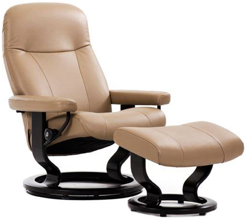 chair with ottoman book shelf stressless garda recliner and by ekornes classic hourglass wood base