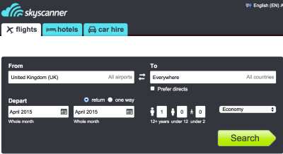 Skyscanner search screenshot