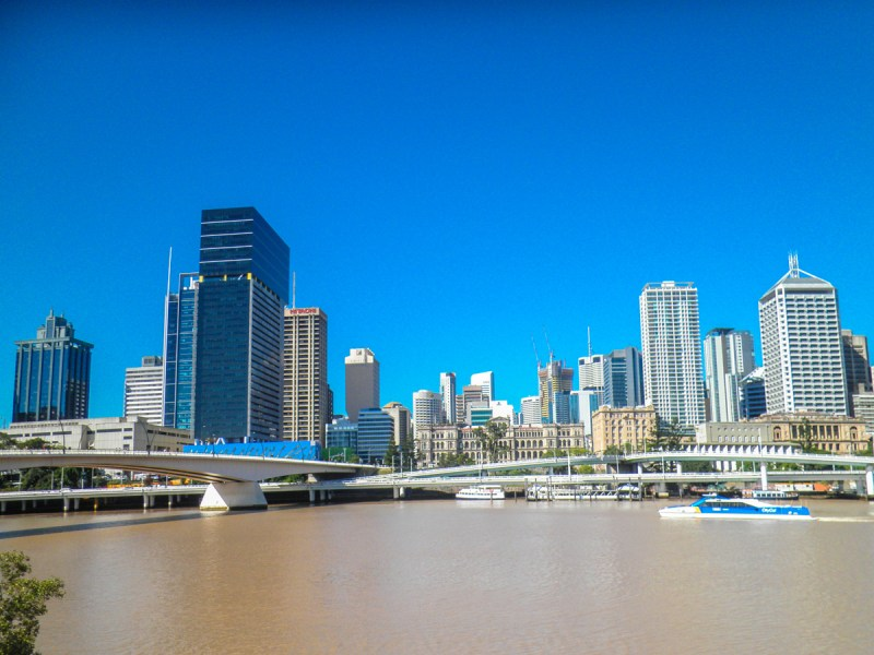 Brisbane Skyline over the murky river