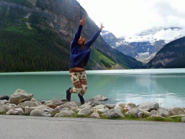 Justine at lake louise in Banff National Park, Canada
