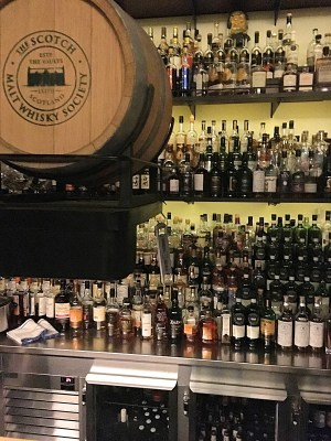 The impressive whiskey selection at Whiskey and Alement