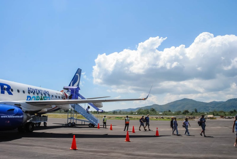Getting off the plane at Labuan Bajo airport Indonesia