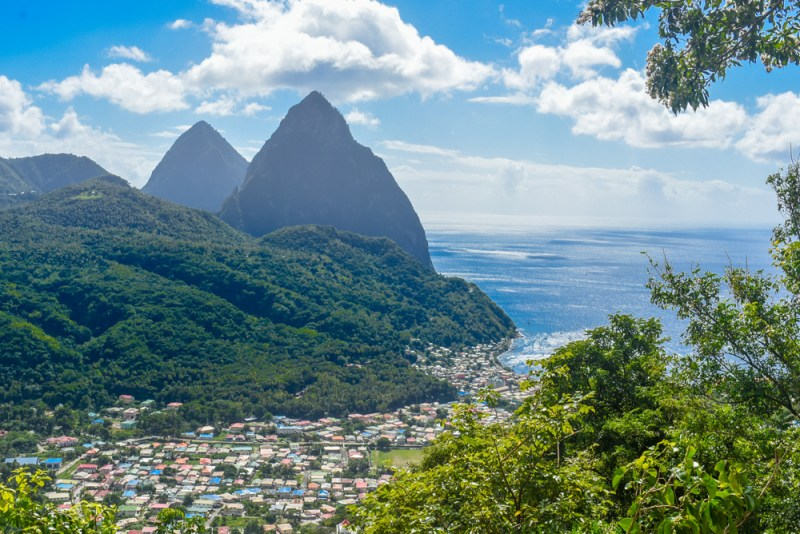 Gross and Petit Piton dominating Soufriere, St Lucia