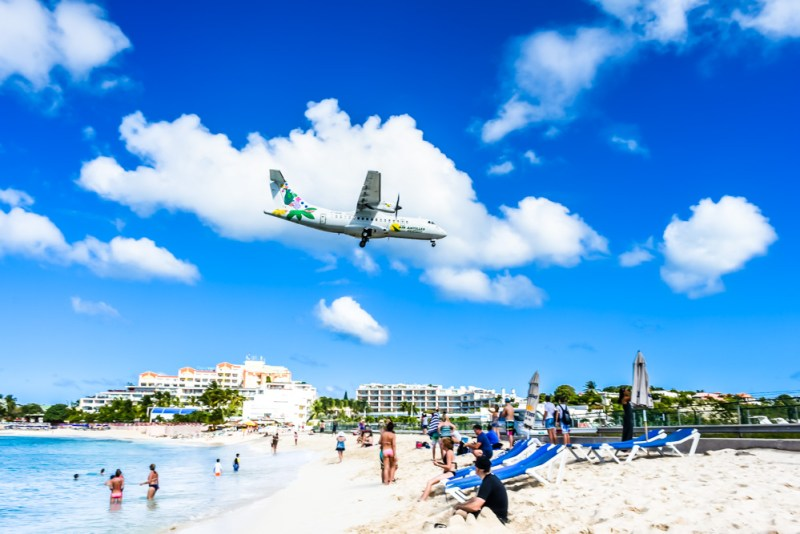Planes flying over Maho Beach St Maarten