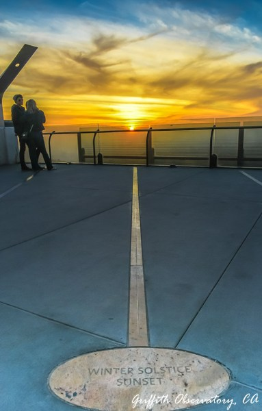 Griffith Observatory, Los Angeles. The viewing deck has many of these that point to the place the sun will drop. I clearly visited on the winter solstice.