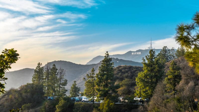 Hollywood sign over the hills from Griffith Observatory
