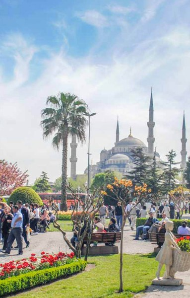 The Blue Mosuqe and the Sultanahmet park, Istanbul, Turkey