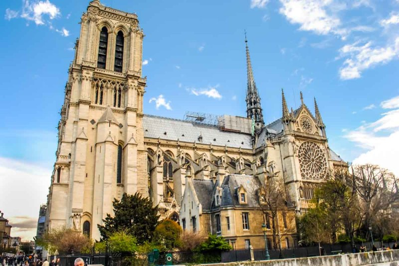 Notre Dame from the side Paris France
