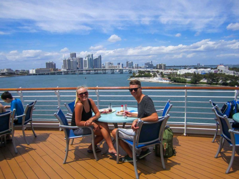 Buffet lunch on the Disney Wonder overlooking Miami Beach