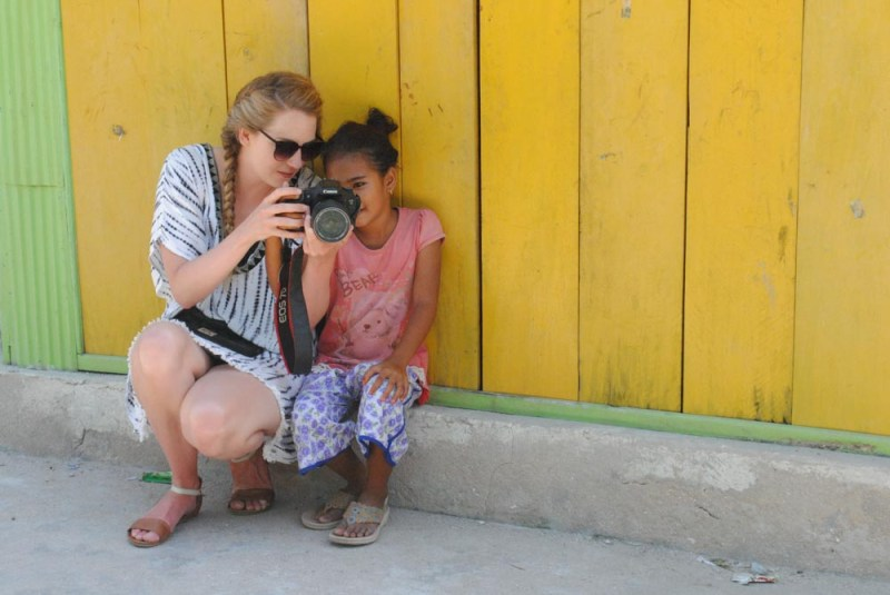 Checking out the photos in Mesa Village Labuan Bajo Indonesia