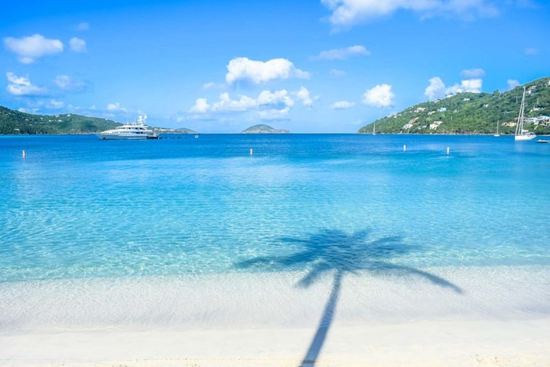 Magens Bay St Thomas with palm tree silhouette