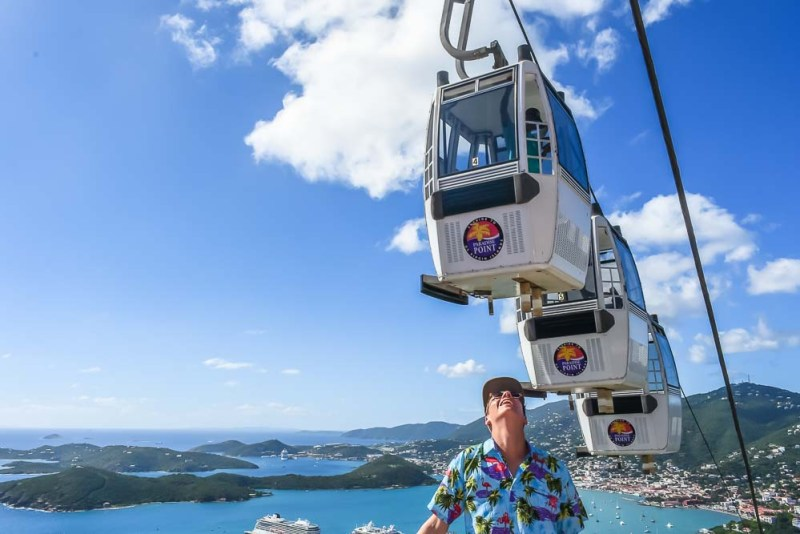 Overlooking Charlotte Amalie St Thomas from the Skyride cable car