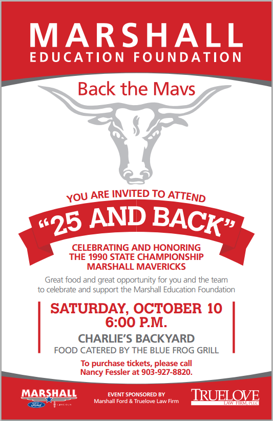 "Back the Mavs at the ""25 and Back"" Event Oct 10 2015 Marshall Education Foundation"