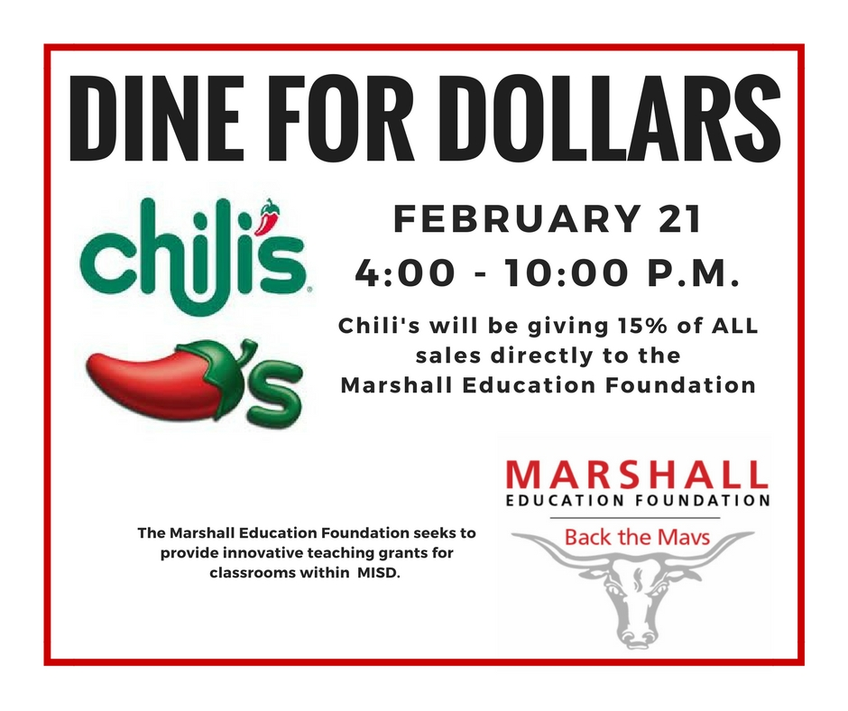 Come Support Marshall Education Foundation at Chilis