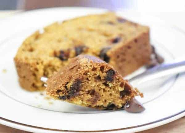Easy homemade chocolate chip pumpkin bread. It's easy to make and easy to eat!