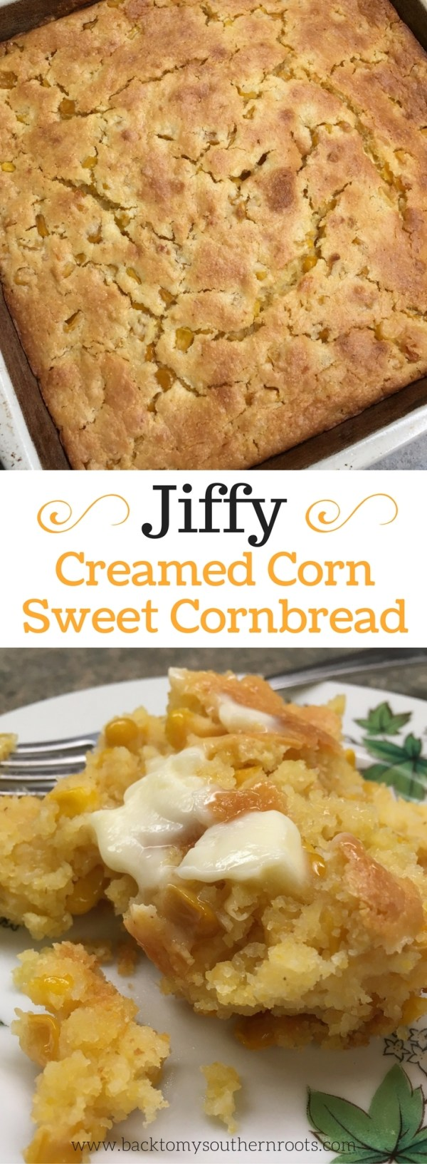 Creamed cornbread pictures in a casserole dish and on a plate with a fork