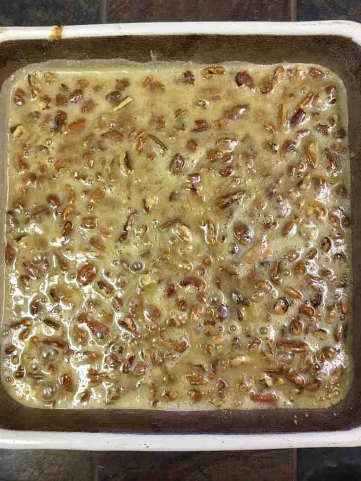 Candied Pecan Dessert Bars are an easy treat to make. The pecan bars are a delicious dessert for any time of the year, but especially the Thanksgiving and Christmas Holidays.