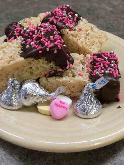 Chocolate Dipped Rice Krispy Treats are the perfect dessert for Valentine's Day