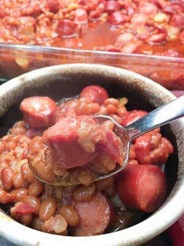 Baked Beans and Weenies are a great meal for dinner, football parties, or a picnic. Holidays are a great time to make baked beans and weenies.