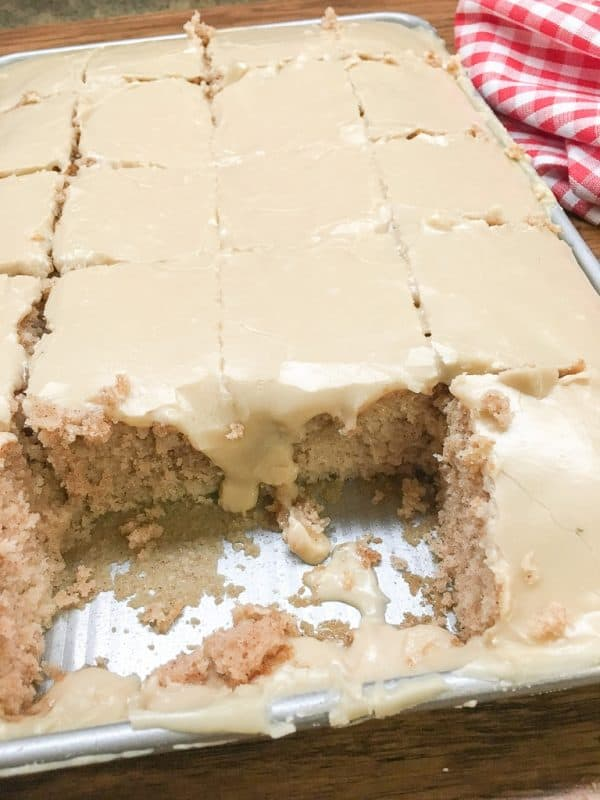 Buttermilk Texas Sheet Cake with vanilla is a delicious dessert to make for a birthday party, church potluck, or any holiday. The rich frosting is perfect with the cinnamon and vanilla flavoring. You are going to love this recipe.