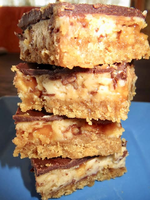 Butterfinger Bliss Bars from Living On Cloud Nine are a combination of Nutter Butter Cookies and Butterfinger Bars. A crust and cheesecake filling make up the recipe.
