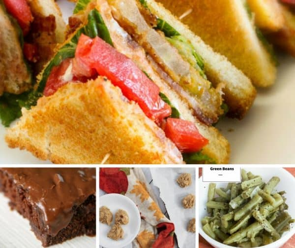 Picture of sandwiches, cake, cookies, and green beans