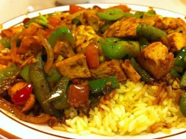 Picture of chicken stir fry with rice