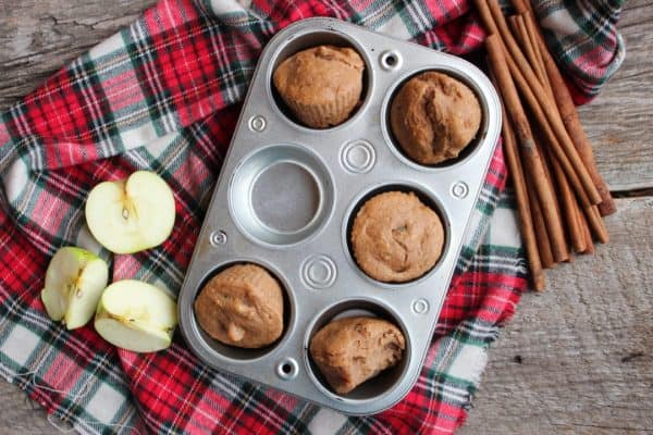 Picture of apple spice muffins in a muffin pan.