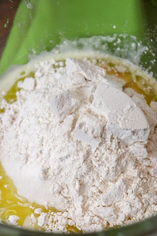 Picture of flour in a mixing bowl.