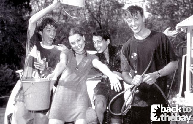 Damian (Matt Doran), Angel (Melissa George), Sarah (Laura Vazquez) and Shane (Dieter Brummer) have a water fight